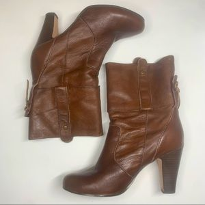 Dolce Vita Chunky Heel brown leather boots size 7